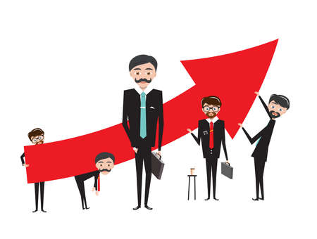 Business People with Red Up Arrow - Vector
