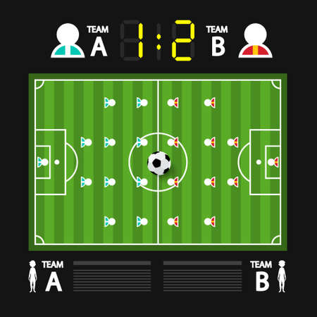 Football -  Soccer Championship Game Infographic Background with Players and Scoreboard