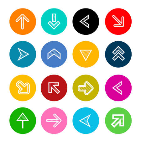 Arrows in Colorful Circles - Vector Arrow Symbol Set Isolated Ilustrace