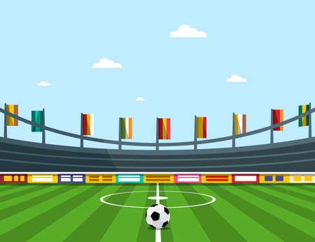 Empty Football Stadium with Flags and Soccer Ball - Vector