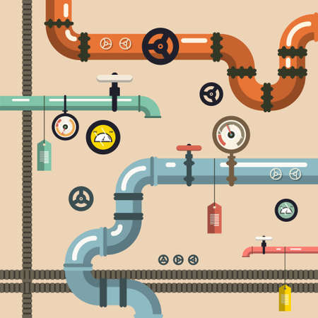 Plumbing - Pipeline Vector Background with Valves Ilustrace