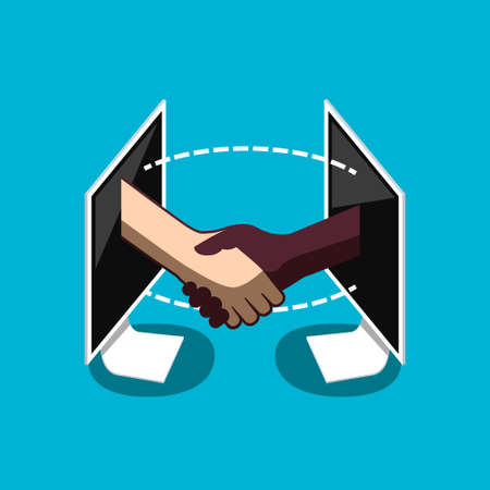 Business Deal Symbol - Two Shaking Hands in Computers - Vector