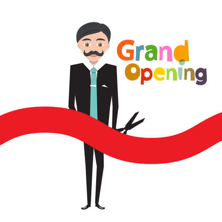 Grand Opening Symbol - Manager with Scissors and Red Bow Isolated on White Background Ilustrace