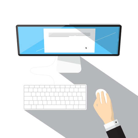Top View Computer, Keyboard and Hand Holding Mouse - Vector