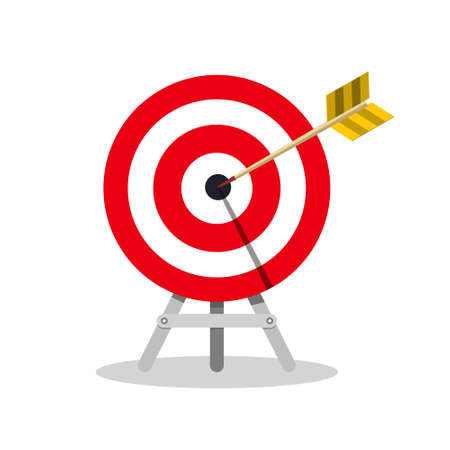 Arrow in Target Center on Tripod Isolated - Vector Ilustrace