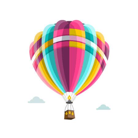 Retro Vector Hot Air Balloon on Sky with Clouds - Isolated