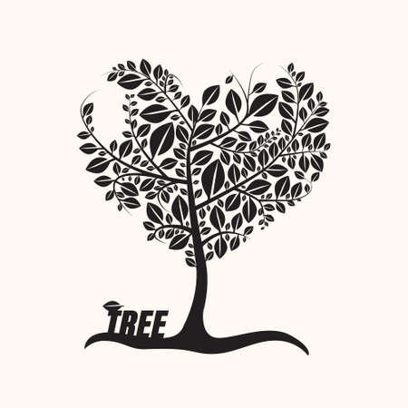 Heart Shaped Tree with Leaves Isolated on Light Background Ilustrace