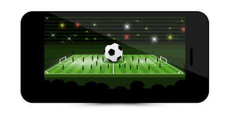 Football Match - Soccer Game on Mobile Phone Screen - Vector Ilustrace