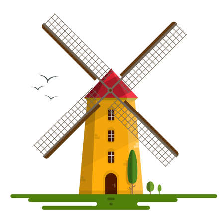 Windmill Vector Illustration - Orange  Sunset Wind Mill with Red Roof Isolated on White Background