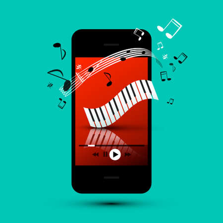 Playlist Charts - Music Songs on Mobile Phone Device - Vector Smartphone Player Ilustrace