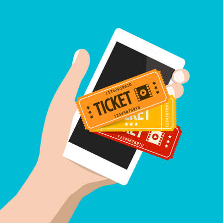 Tickets on Mobile Phone Application Ilustrace