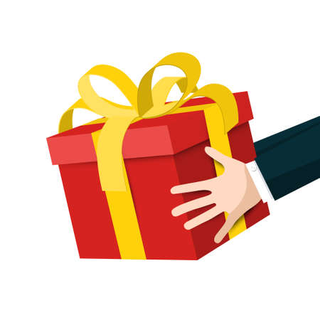Hands Holding Red Gift Box with Gold Bow - Vector Isolated on White Background