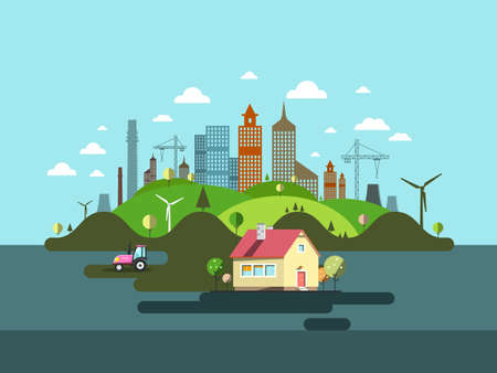 Family House with Industrial City on Background - Vector Flat Design Cartoon