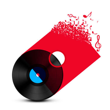 Vinyl Isolated on Transparent Red Cover with Music Symbols  White Background