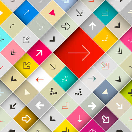 Arrows on Colorful Diagonal Squares Vector Background