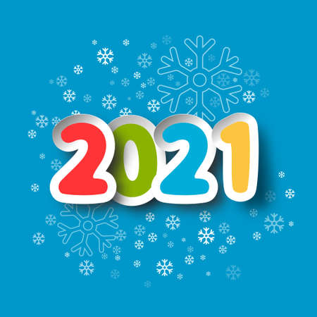 2021 New Year Paper Cut Numbers on Blue Background with Snowflakes - Vector