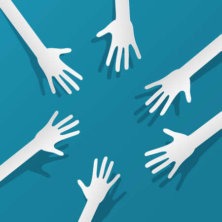 Paper Cut Vector Hands on Blue Background