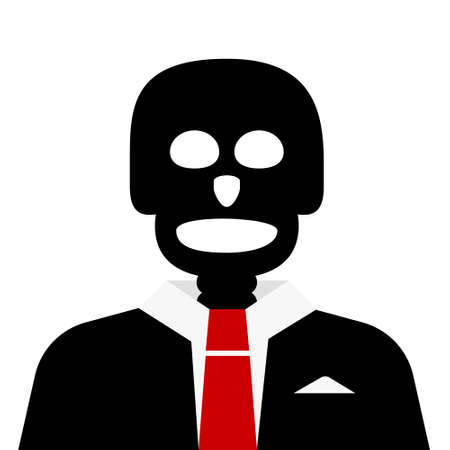 Skull in Suit Vector Cartoon Isolated on White Background