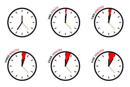 Vector Clock Set Isolated on White Background - One, Two, Three, Four, Five Minutes Icons Vecteurs
