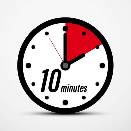 10 - Ten Minutes Clock Icon Isolated - Vector