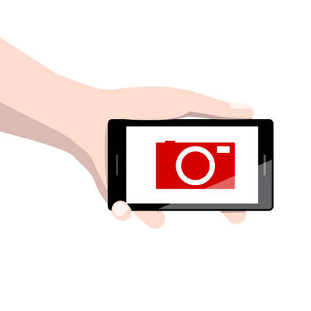 Hand Holding Phone with Red Camera Icon on Screen Ilustrace