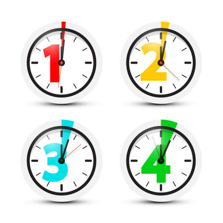 1 - One, 2 - Two, 3 - Three, 4 - Four Minutes Clock Set Isolated on White Background