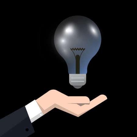 Lightbulb above Head on Dark Background - Vector