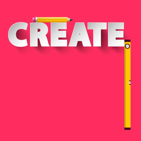 Creative Project Design - Create Symbol with Pencil and Water Level on Pink Background - Vector Ilustrace