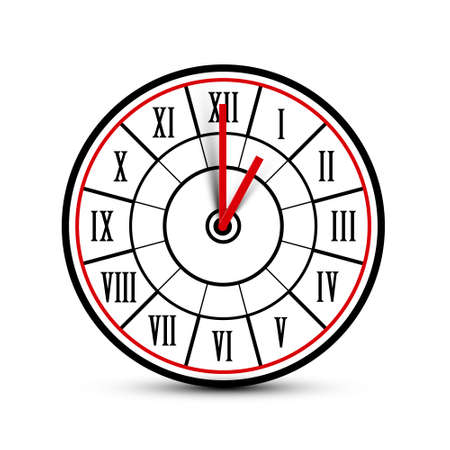 Retro Analog Clock Face Icon with Roman Numbers Isolated n White Background - Vector Time Symbol Ilustrace