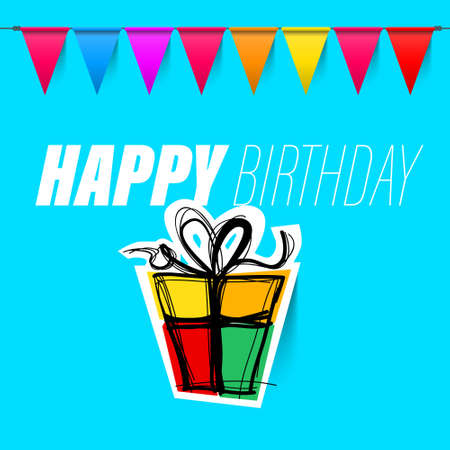 Happy Birthday Vector Design with Colorful Flags and Gift Box on Blue Background
