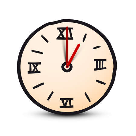Simple Clock Icon with Roman Numbers - Time Vector Symbol Векторная Иллюстрация