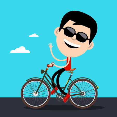 Smiling Man with Black Sunglasses Riding Bicycle Waving Hand - Vector Cartoon