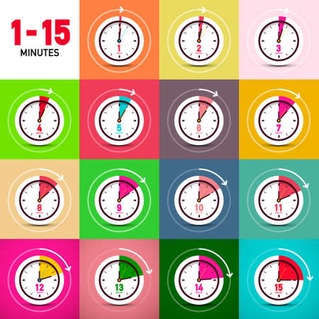One to Fifteen Minutes Vector Clock Icons