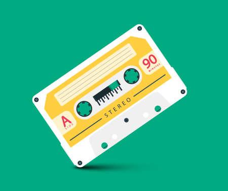 White Retro Audio Cassette Tape Vector Cartoon
