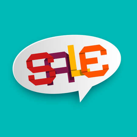 Sale Icon - Colorful Papert Cut Letters in Speech Bubble on Blue Background - Vector