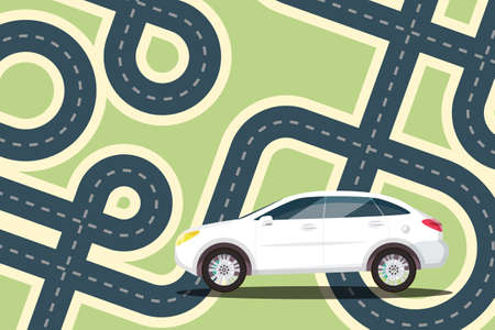 Car with Streets - Roads on Map - Vector Cartoon Ilustrace