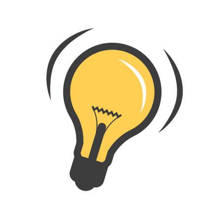 Lightbulb Flat Icon - Vector Lit Bulb Symbol Isolated on White Background
