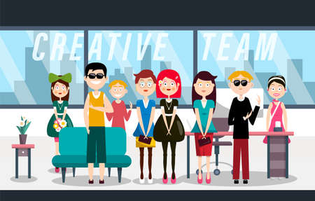 Creative Team - Young People in Modern Office Vector Cartoon