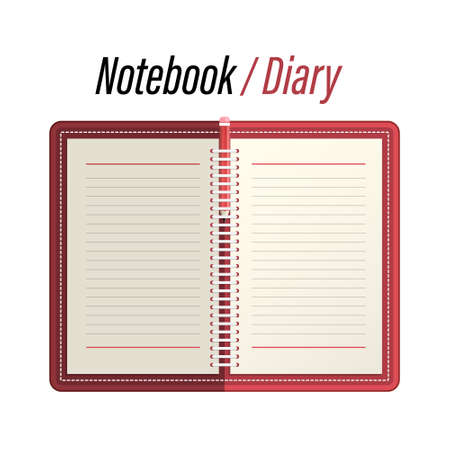 Empty Notebook - Memo - Diary with Lined Papers and Pencil Vector Illustration Isolated on White Background Ilustrace