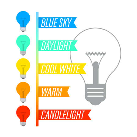Color Temperature Infographic with Lightbulbs Icons - Vector