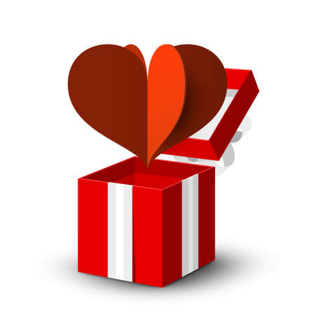 Open Gift Box with Red Paper Cut Heart Ilustrace