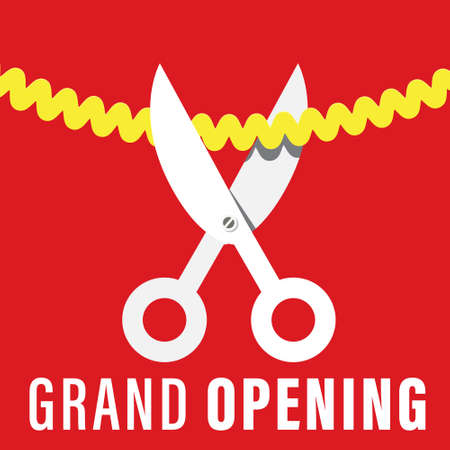 Grand Opening Vector Design with Scissors Cutting Golden Bow Ilustrace