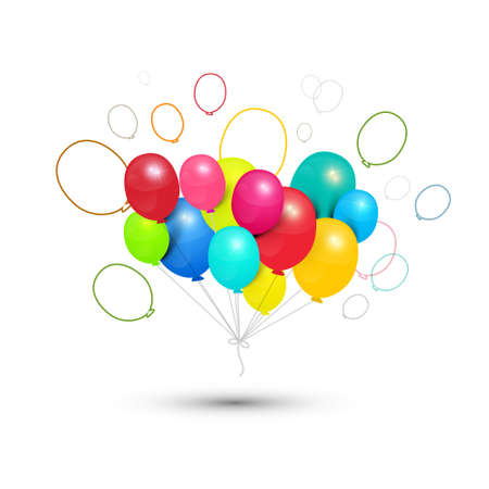 Colorful Festive - Party Balloons Isolated on White Background - Vector Ilustrace