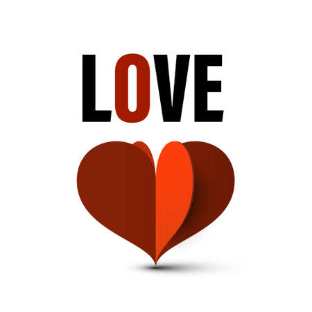 Love Symbol with Paper Cut Red Heart - Vector