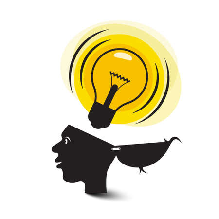 Idea Symbol with Opened Head and Lit Bulb - Vector Cartoon Ilustrace