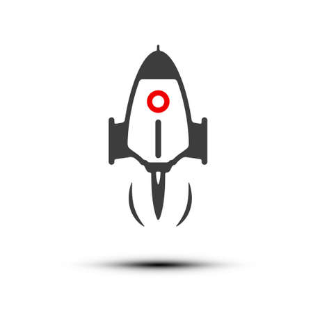 Rocket Launch Icon - Vector Spacecraft Isolated on White Background Ilustrace