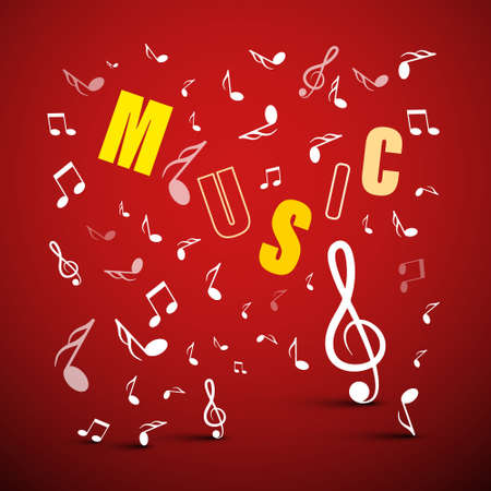 Vector Music Background with Notes and Letters Ilustrace