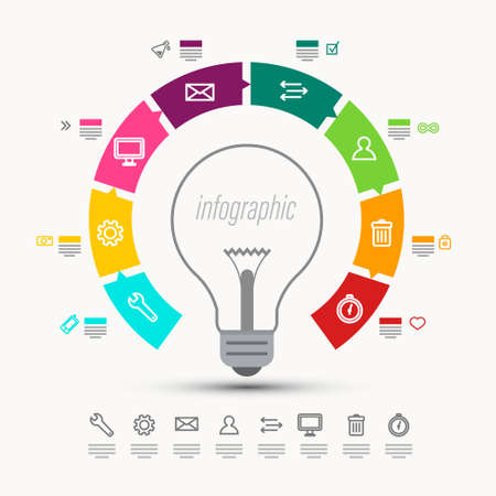 Infographic Vector Design with Bulb and Icons Ilustrace