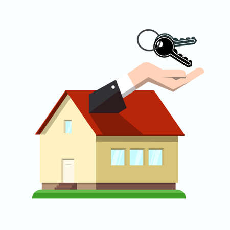 Family House Icon with Hand and Keys - Vector