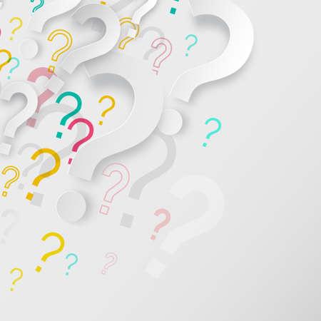 Question Marks Background - FAQ Paper Cut Symbols on Grey Backdrop